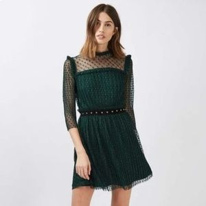 Exquisite Topshop Green Lace Star Dress